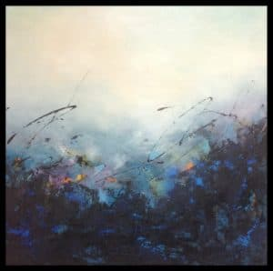 Sharon Grimes - 35x35 - Acrylic on wood panel with glossy varnish, black sides - Imaginal Landscape