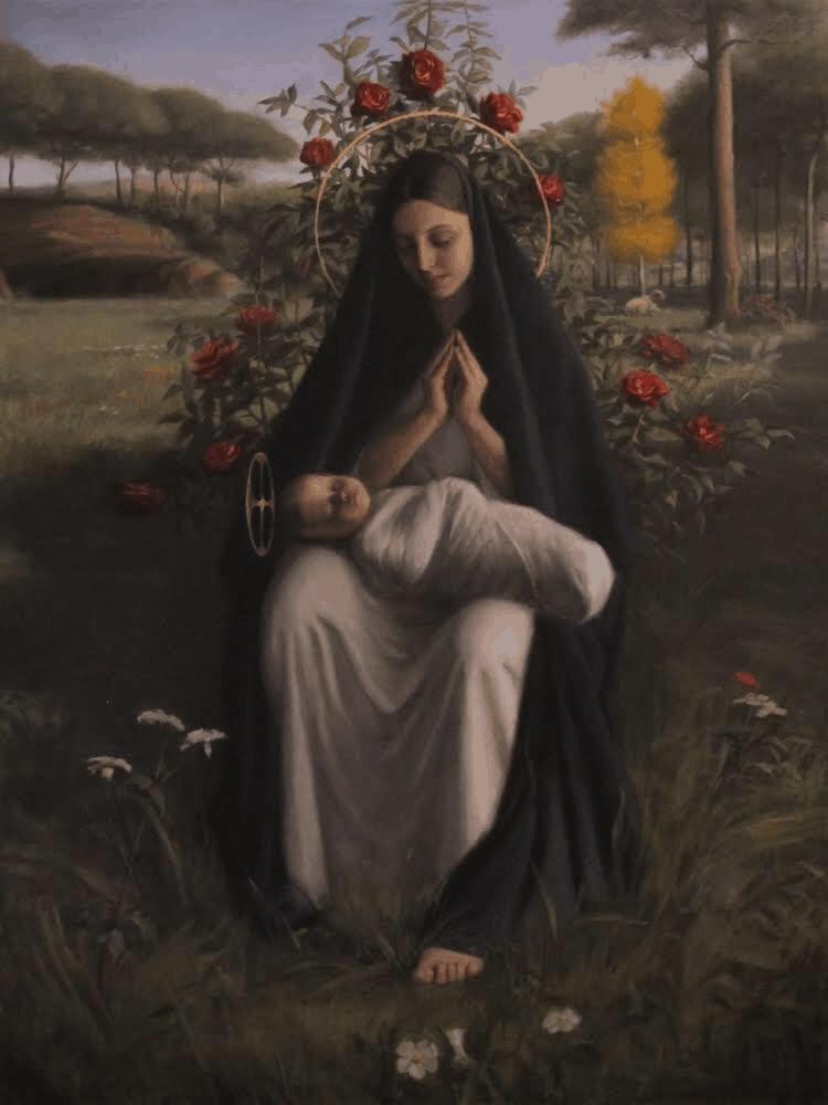 Robert Puschautz, Madonna of Roses, 36x48in
